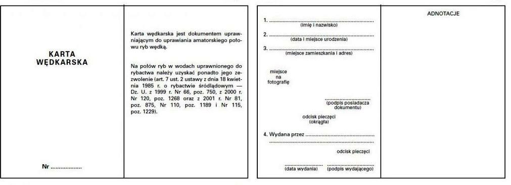 Karta Wędkarska - Wzór