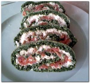 Rolada łososiowo – szpinakowa -