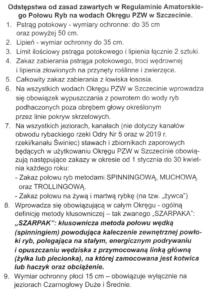 Regulamin Amatorskiego Połowu Ryb - OPZW Szczecin od 2020 r.